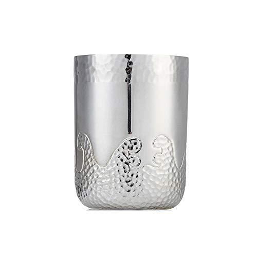 XXSC-ZC Juego de té de Plata de Ley, Vidrio de Agua de Taza de té Plateado Hecho a Mano, Vidrio de Whisky de algodón de jerreis de Licor, Copa de Vino pequeño doméstico,70ML