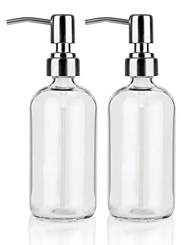 17-Ounce Glass Soap Dispenser 2-Pack, Glass Soap Pump Bottles with Stainless Steel Pumps, Liquid Shower Dish Dispenser for Bathroom Countertop and Kitchen (Clear)