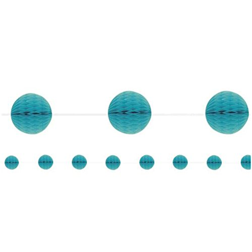 Honeycomb Ball Garland Bunting 7 ft / 2.1m - Banner Party Decoration - 16 Colours (Teal/Turquoise - Honeycomb Garland)
