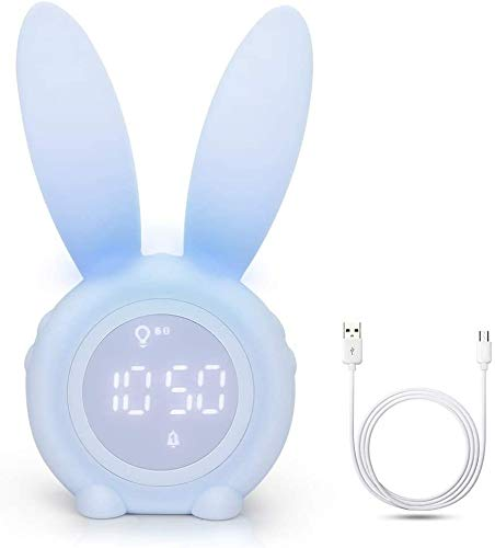 Winkeyes Kids Digital Alarm Clock Rabbit Shape 6 Ringtones Dual Alarm Setting Magnetic USB Rechargeable with Countdown Snooze Function Timing Night Light Temperature Sensor Low Battery Indicator