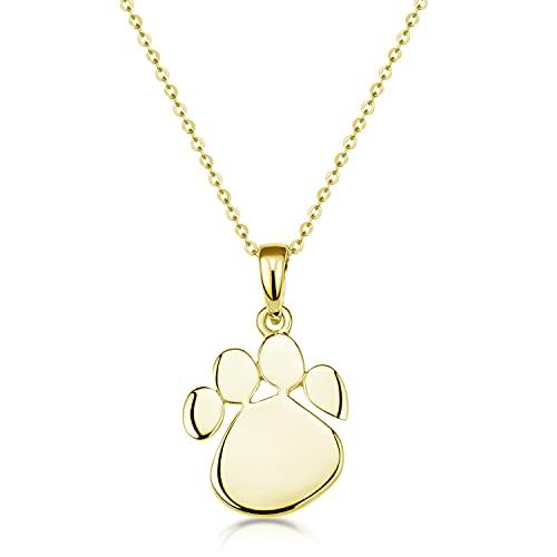 MATERIA by Matthias Wagner Colgante de huella de perro de plata de ley 925 chapada en oro con...