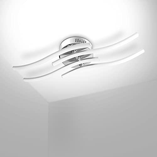 Kingwen 24W LED Deckenleuchte 4 Flammig LED Deckenlampe Wohnzimmerlampe 5500K, 4 x 6W 1800lm Wellenförmige Parallele Deckenleuchte Aluminium Moderne Deckenleuchte wohnzimmer.