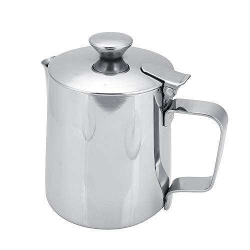 Tazza caffè acciaio inox latte Brocca con brocca e coperchio caffè Art cucina ufficio con manico(250ML-Argent)
