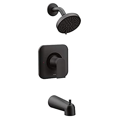 Moen T2473EPBL Genta Posi-Temp Pressure Balancing Eco-Performance Modern Tub and Shower Trim, Valve Required, Matte Black