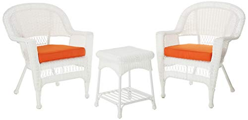 Jeco 3 Piece Wicker End Table Set with with Orange Chair Cushion, White