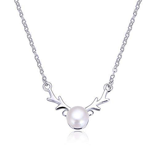 GLLFC Collar para Mujer Collar Hombre Cadena de clavícula de Plata de Ley 925 con Colgante de Cabeza de Ciervo y Colgante de Perlas de Agua Dulce Collar de Regalo para niñas y niños