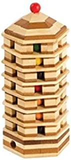 CHH 6163 6.37 Inch Bamboo Pagoda Tower Puzzle with Color Beads, Natural
