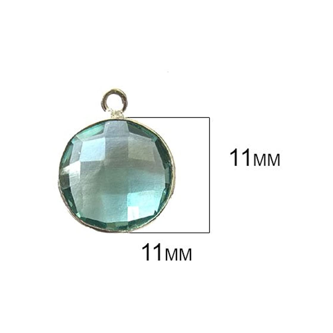 4 Pcs Aquamarine Coin Beads 11mm Silver by BESTINBEADS, Aquamarine Hydro Quartz Coin Pendant Bezel Gemstone Connectors Over 925 Sterling Silver Bezel Jewelry Making Supplies