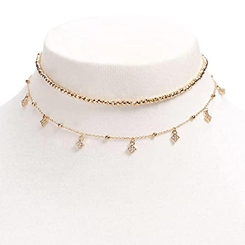 QiuYueShangMao Joyas Collar con Cuentas de Diamantes de imitación Dos Conjuntos Collar de Tendencia de Estilo Europeo y Americano Femenino Regalo de graduación Colgante de la Amistad