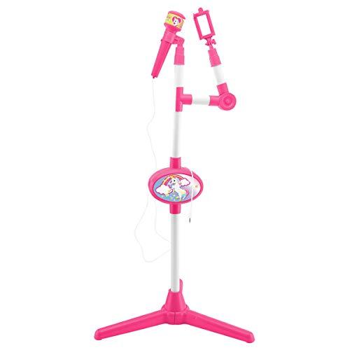 Lexibook Unicornio-Micrófono Con Pie luminoso, Especial Karaoke (S150UNI) Einhorn-Mikrofon mit Lautsprecher und beleuchtetem Standfuß, Hilfsbuchse zum Anschließen von Musik, Pink/Weiß