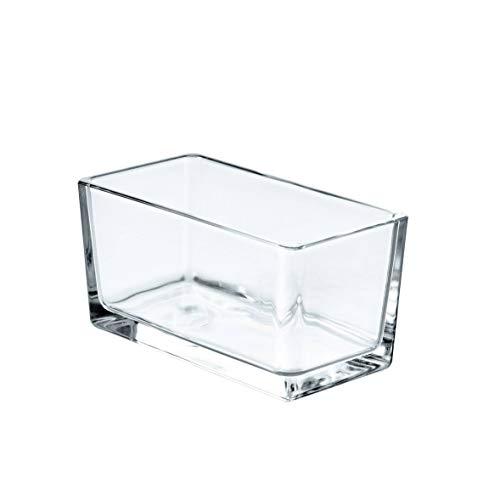 INNA-Glas Portacandela Rettangolare Hugo Trasparente, 15,5x8x8cm - Vetro per Candele/Portalumino Decorativo