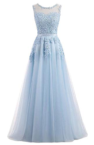 Romantic-Fashion Damen Ballkleid Abendkleid Brautkleid Lang Modell E010-E015 Blütenapplikationen Tüll DE Hellblau Größe 36
