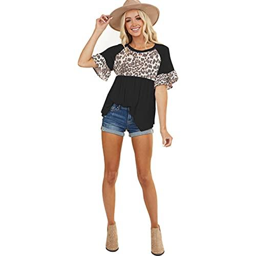 SLYZ Camiseta De Manga Corta con Cuello Redondo Y Estampado De Leopardo con Costura De Hoja De Loto para Mujer De Verano