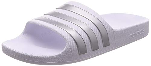 adidas Unisex-Child Aqua Adilette Sandal, Cloud White/Silver Metallic/Cloud White, 37 EU