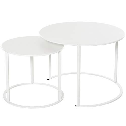 Outsunny Beistelltisch, 2er Set, Garten Couchtisch, Kaffeetisch mit erhöhten Kanten, Wohnzimmer, Metall Weiß, Ø70 x 50 cm