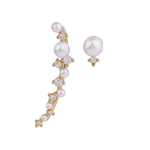 Yhhzw Aretes Geométricos Asimétricos De Arco De Perlas Simuladas Para Mujer, Joyería De Cristal Brillante A La Moda