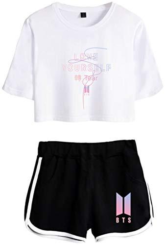 OLIPHEE Chándales Deportiva con Impresa 轉 Tear de BTS Camiseta y Pantalones Cortos para NiñaTearbohe-XS-2