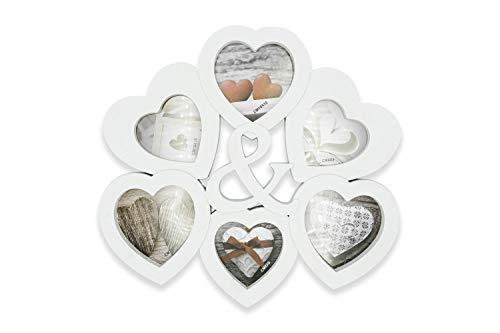 Mehrfach-Bilderrahmen für 6 Fotos Love, Bilderrahmen in Herzform, Mehrfach-Bilderrahmen 33 x 32 cm