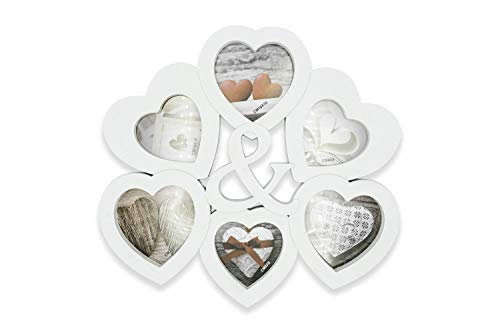 Cadre photo mural multi-photos pour 6 photos Love, cadre photo en cœur, cadre multi-photos 33 x 32 cm