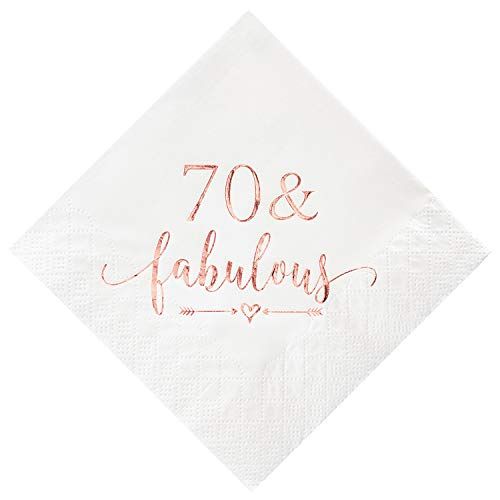 Crisky 70 and Fabulous Cocktail Napkins Rose Gold for Women 70th Birthday Decorations, 70th Birthday Bevergae Dessert Cake Table Supplies, 50Pcs, 3-Ply