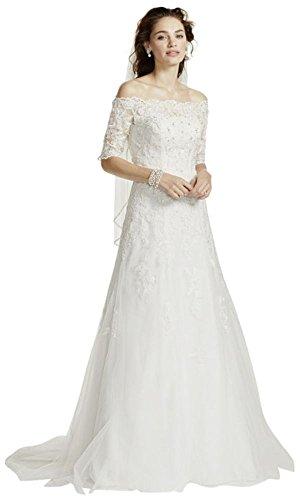 David's Bridal Jewel Off The Shoulder 3/4 Sleeve Wedding Dress Style WG3734, Soft White, 4