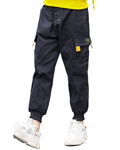 AFirst Boy Causal elástico cintura Chino Cargo Jogger Pantalón con bolsillo