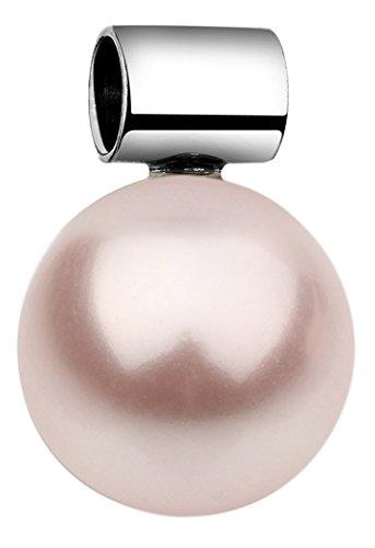 Nenalina Schmuck Perlen-Anhänger in 925 Sterling Silber mit 12 mm rosa Swarovski Perle für Damen Kette oder Halskette, 846504-192
