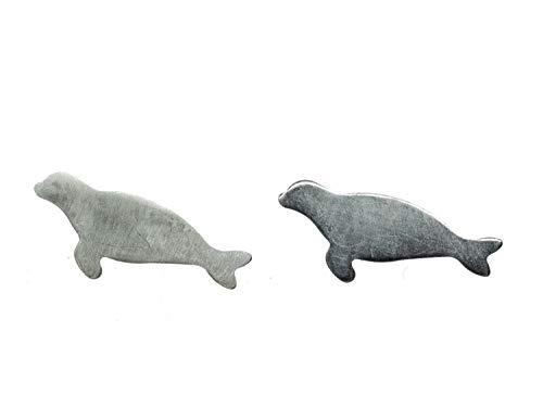 Miniblings Robbe ley 925 aretes de sellado perro sello de plata - Pendientes hechos a mano de joyería de moda pendientes conecto