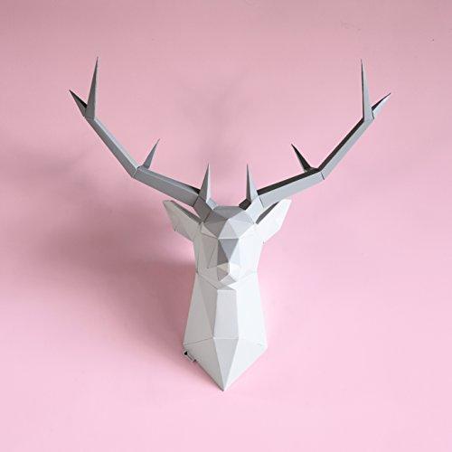 Brownfolds Trofeo de pared de papel de bricolaje; pieza de arte de decoración de pared con cabeza de ciervo; plantillas de papel precortadas y marcadas