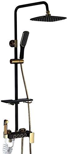 BESTPRVA Botón Set Completo de Cobre y Oro Negro Plaza Cuatro Engranaje de la Ducha, el hogar Retro riego por aspersión, con Cuarto de baño fijados Marco de Objeto, Cabezal de Ducha Fijo