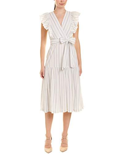 Rebecca Taylor Women's Sleeveless Yarn Dye Stripe Dress, Snow Combo, 8 (Apparel)
