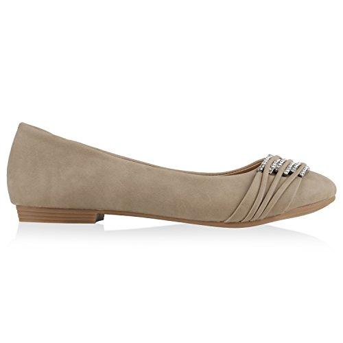 stiefelparadies Klassische Damen Strass Ballerinas Elegante Slipper Übergrößen Metallic Glitzer Flats Schuhe 135357 Creme 37 Flandell