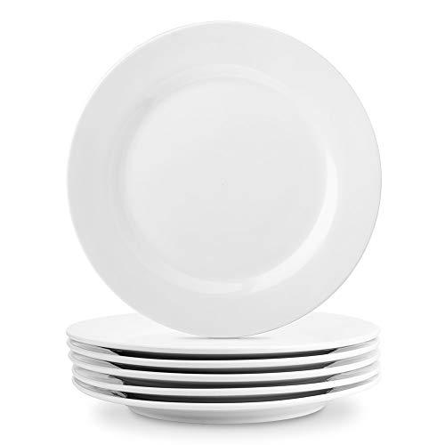 Nucookery 11 Inch White Dinner Plates | Porcelain Dishes | Large, Microwave-Safe, Dishwasher-Safe 6pc Ceramic Dinnerware Set (11 Inch)