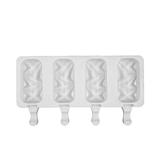 Moldes de Helado de Silicona 4 Cell Cube Cube Bandeja Food Safe Popsicle Maker DIY Casero Congelador Hielo Lolly Molde Hogar Helado Herramientas (Color : D White)