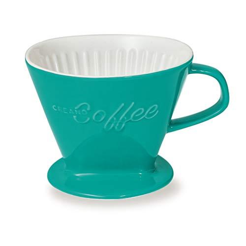 Creano Porzellan Kaffeefilter (Jadegrün), Filter Größe 4 für Filtertüten Gr. 1x4, ca. 800gr Gewicht für extrem sicheren Stand, Achtung schwer, in 6 Farben erhältlich