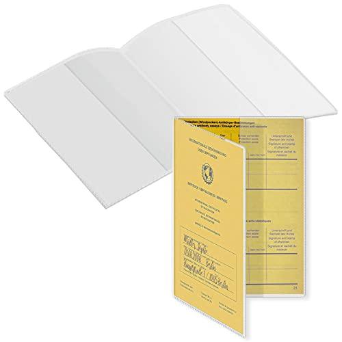 mtb more energy® 1x Hülle für Impfausweis Impfpass (ältere Ausführungen, Größe 14.4-14.8x10.5 cm, Ausstelldatum bis ca. 2008) - aufklappbar - mattiert - Hülle Klarsichthülle Schutzhülle