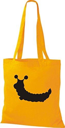 Krokodil Stoffbeutel Raupe Puppe Baumwolltasche, Beutel, Shopper Umhängetasche, Farbe gelb