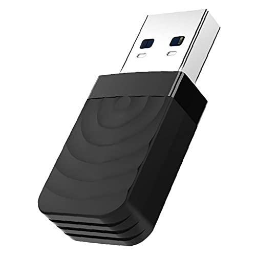 Sanfiyya Adaptador USB WiFi, Doble Banda 2.4G / 5G Tarjeta de Red de Seguridad inalámbrico, AC1300 USB 3.0 para PC de Escritorio del Ordenador portátil Negro