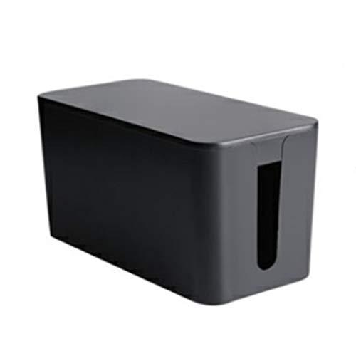 Vobajf Caja para Cables Cable de alimentación Almacenamiento Bo Arrastre Cable Organizador Cargador Línea de Datos Caja de clasificación Cable Tidy Box (Color : Black, Size : 22.5X10.5X12cm)