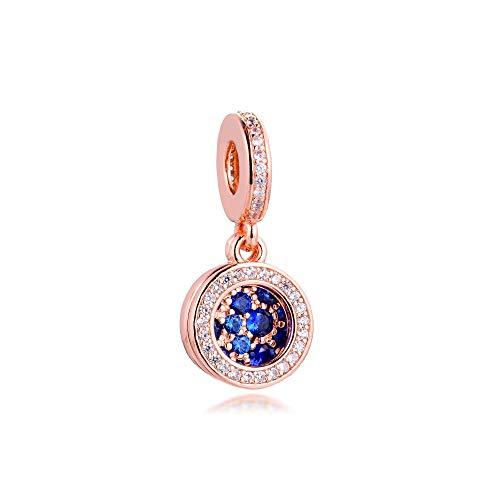 LILANG Pulsera de joyería Pandora 925, dijes de Disco Azul Natural, Cuentas de Plata esterlina con Ajuste Original para Hacer Mujeres, Regalo DIY