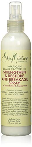SheaMoisture Anti-Breakage Spray, Jamaican Black Castor Oil Heat Protectant with Shea Butter, 8 Fl Oz