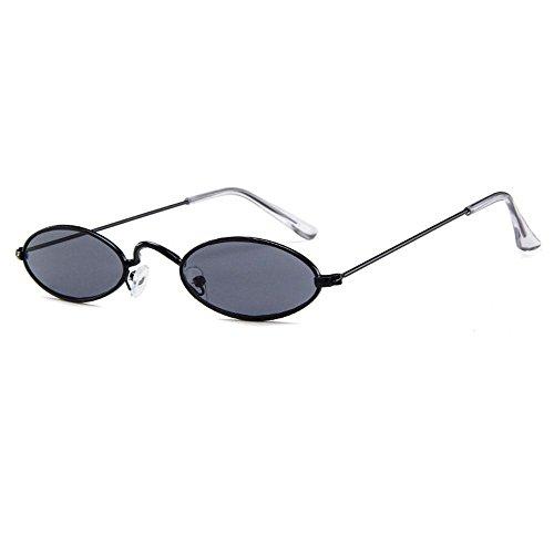 Aolvo - Occhiali da sole piccoli ovali, stile vintage, eleganti, rotondi, HD, per uomini, donne e ragazze Black Frame Grey Lens