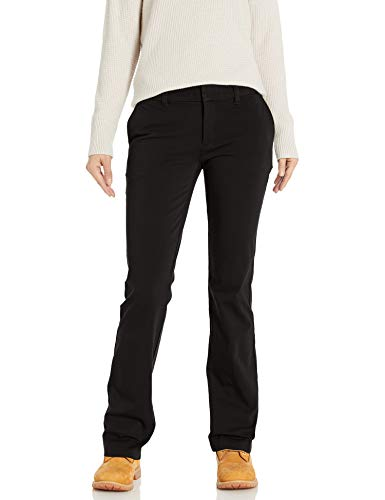 Dickies Women's Perfect Shape Bootcut Twill Pant, Rinsed Black, 14