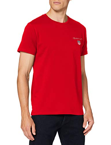 GANT D1. Medium Shield SS T-Shirt Camiseta, Rojo Brillante, XS para Hombre