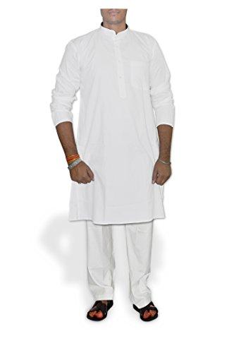 DakshCraft bianco Dobby/cotone uomo Kurta Pajama bianco Large