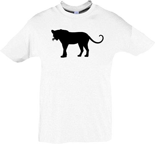 Kinder-Shirt; Tiermotiv Raubkatze, Puma, Leopard,Tiger, Jaguar, Panther, Löwe; Farbe Weiß, Größe 152