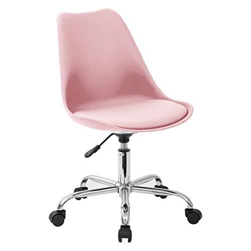 Zolta Ergonomischer Bürostuhl - Kunststoff Schreibtischstuhl - Höhenverstellbar Drehstuhl - Kunstleder Retro Design Stuhl - Bürosessel - Computerstuhl - Schreibtischsessel - Rosa