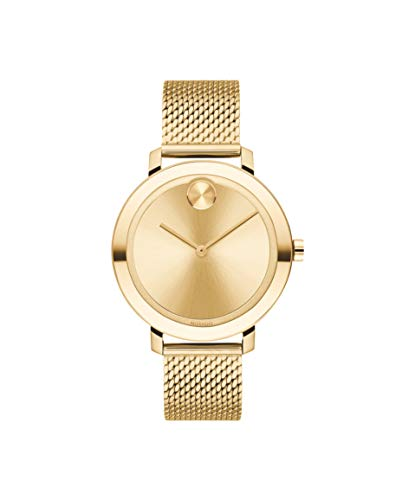 Movado Women's Bold Evolution Quartz Watch with Stainless Steel Strap, Gold, 15 (Model: 3600653)