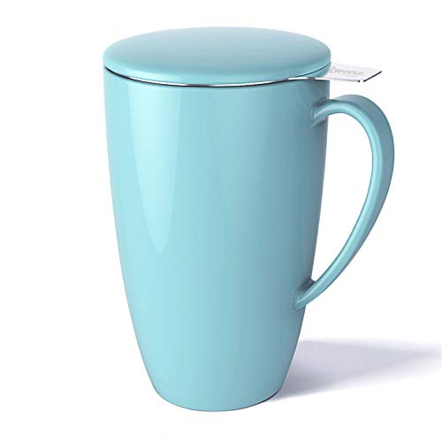 Sweese 201.102 Porcelain Tea Mug with Infuser and Lid, 15 OZ, Turquoise