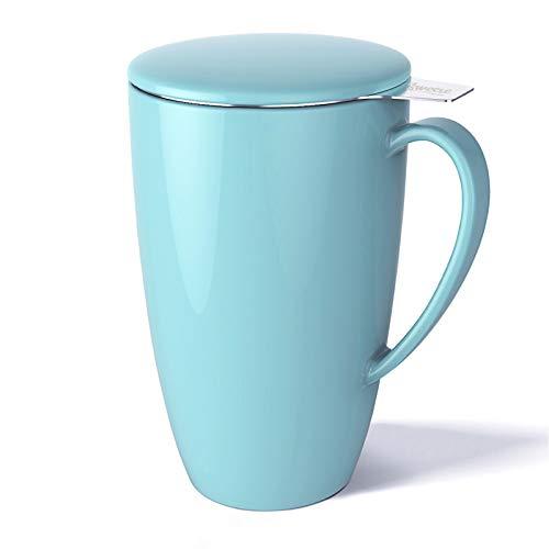 Sweese 201.102 Teetasse mit Deckel und Sieb, Becher aus Porzellan für Losen Tee Oder Beutel, Helltükis, 400 ml